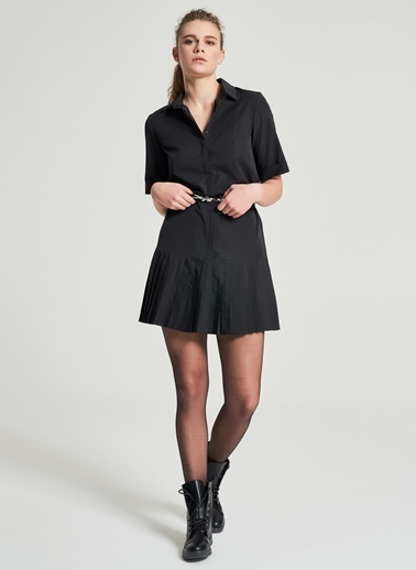 Pi π Piliseli Gömlek Elbise Siyah